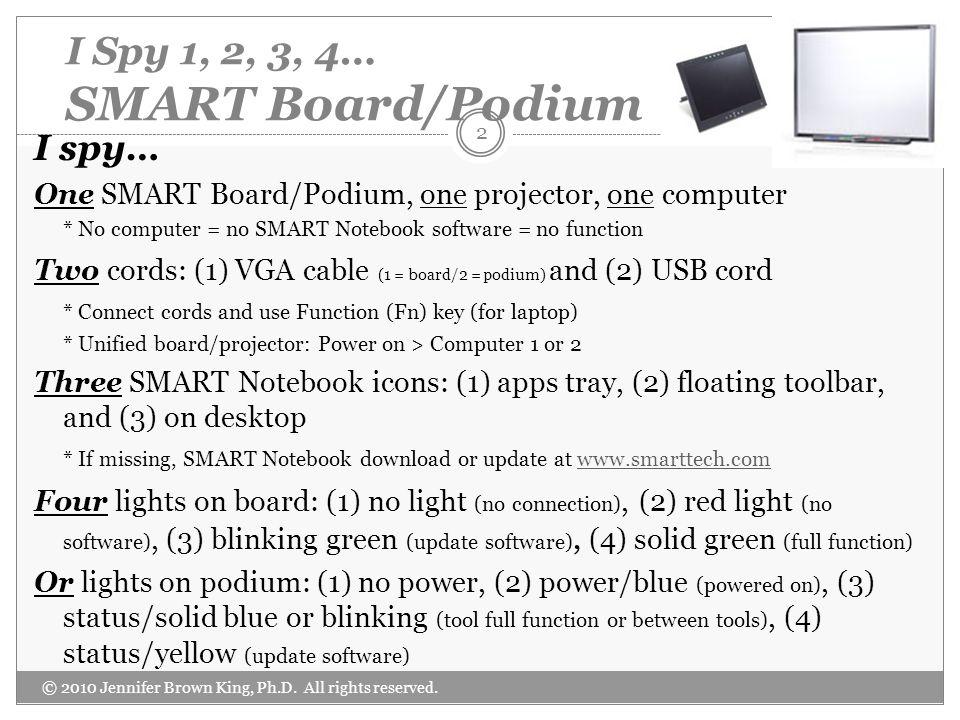 I Spy 1, 2, 3, 4… SMART Board/Podium I spy… One SMART Board/Podium, one projector, one computer * No computer = no SMART Notebook software = no functi