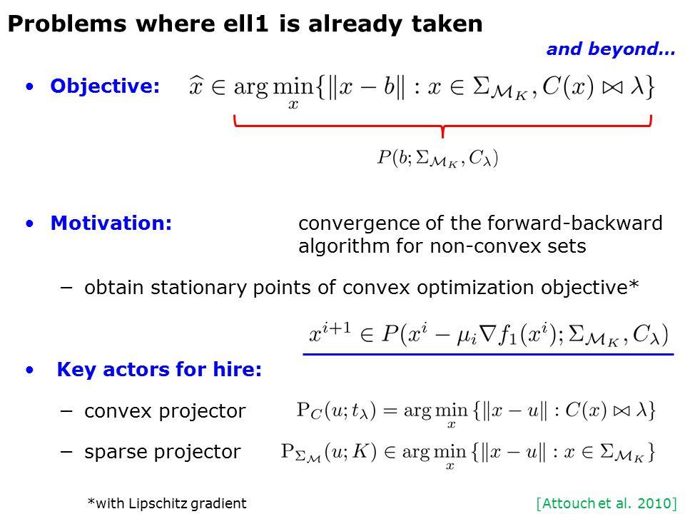 Objective: Motivation:convergence of the forward-backward algorithm for non-convex sets −obtain stationary points of convex optimization objective* Ke