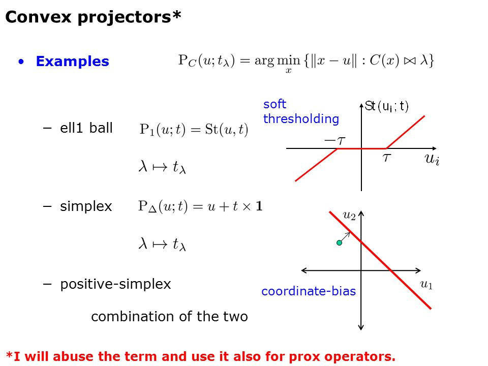 Examples −ell1 ball −simplex −positive-simplex combination of the two Convex projectors* soft thresholding *I will abuse the term and use it also for prox operators.