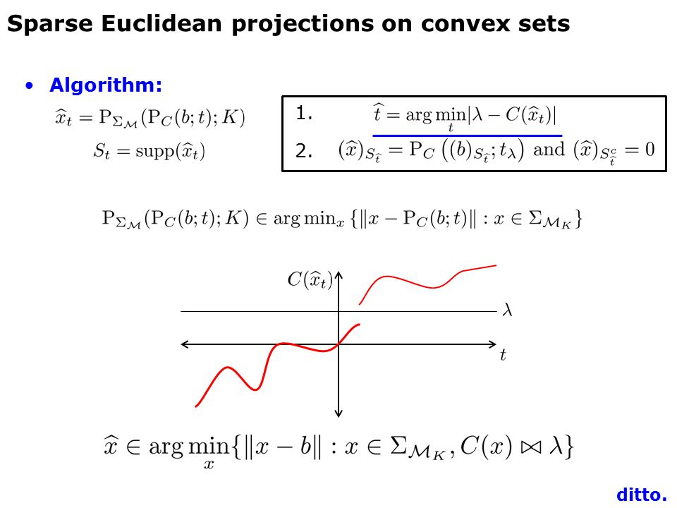 Algorithm: 1. 2. Sparse Euclidean projections on convex sets ditto.