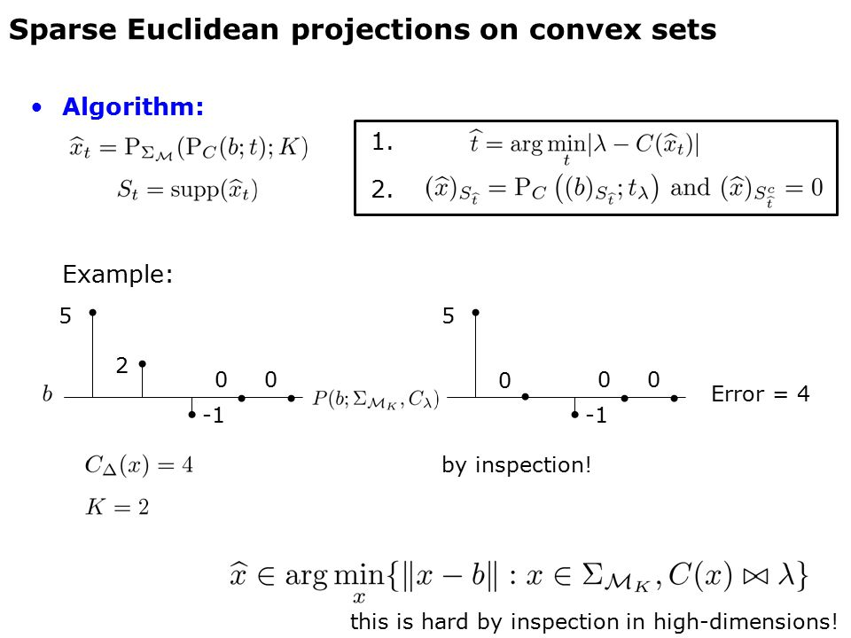 Algorithm: 1. 2. Example: Sparse Euclidean projections on convex sets 5 2 5 0 by inspection! Error = 4 0000 this is hard by inspection in high-dimensi