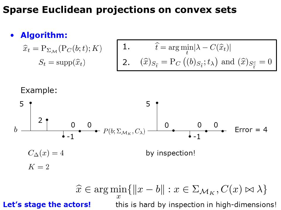 Sparse Euclidean projections on convex sets 5 2 5 0 by inspection! Error = 4 0000 Algorithm: 1. 2. Example: this is hard by inspection in high-dimensi