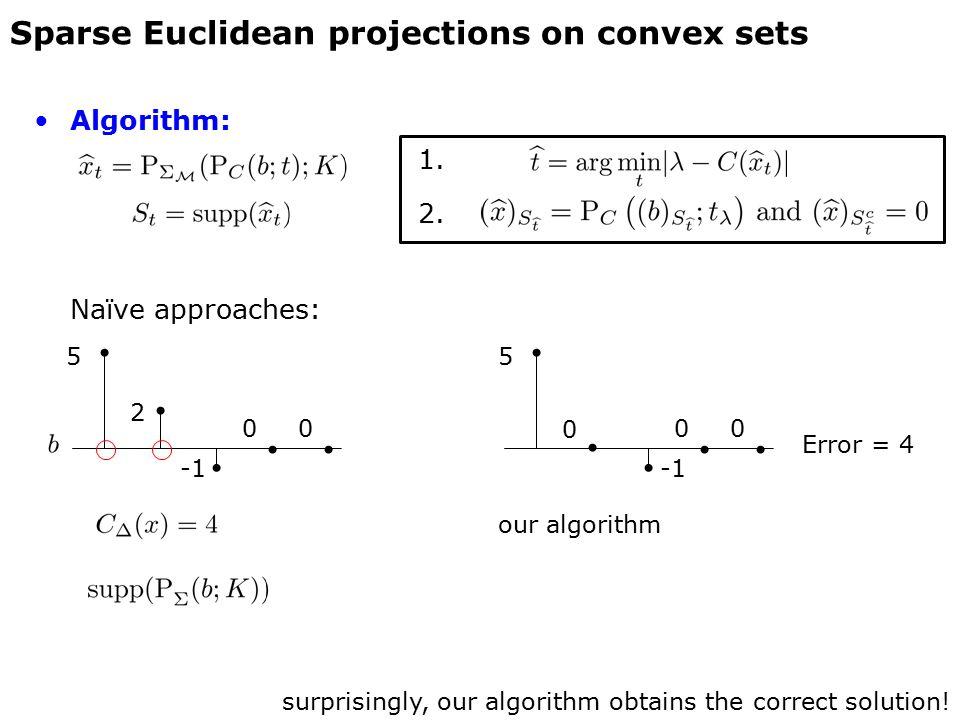 Algorithm: 1. 2. Naïve approaches: Sparse Euclidean projections on convex sets 5 2 surprisingly, our algorithm obtains the correct solution! 00 5 0 ou
