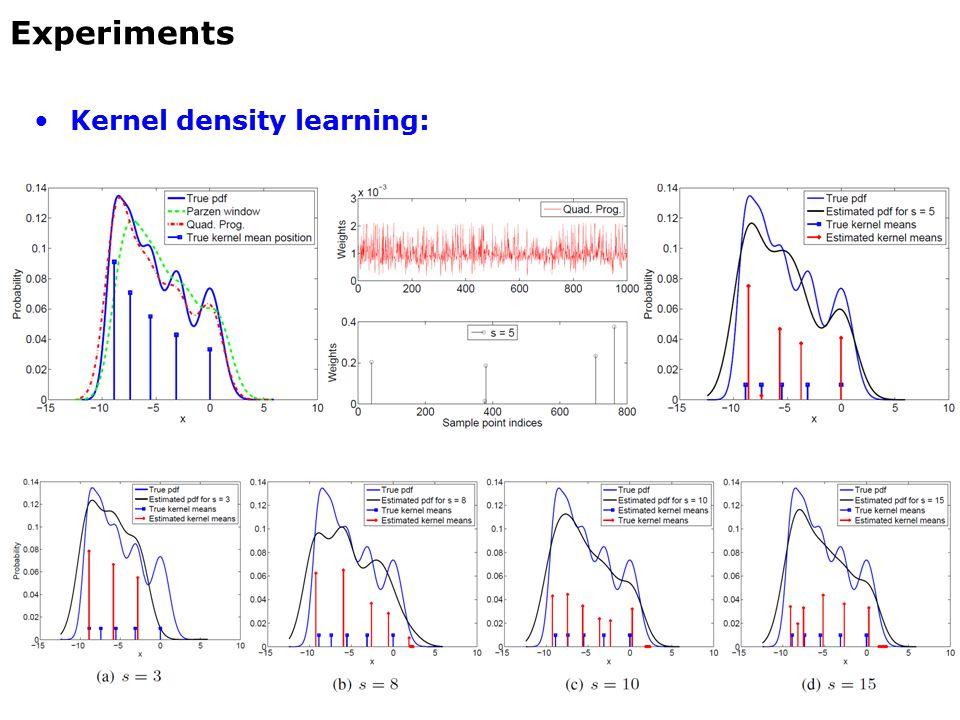 Kernel density learning: Experiments