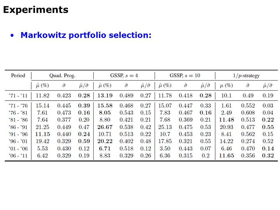 Markowitz portfolio selection: Experiments