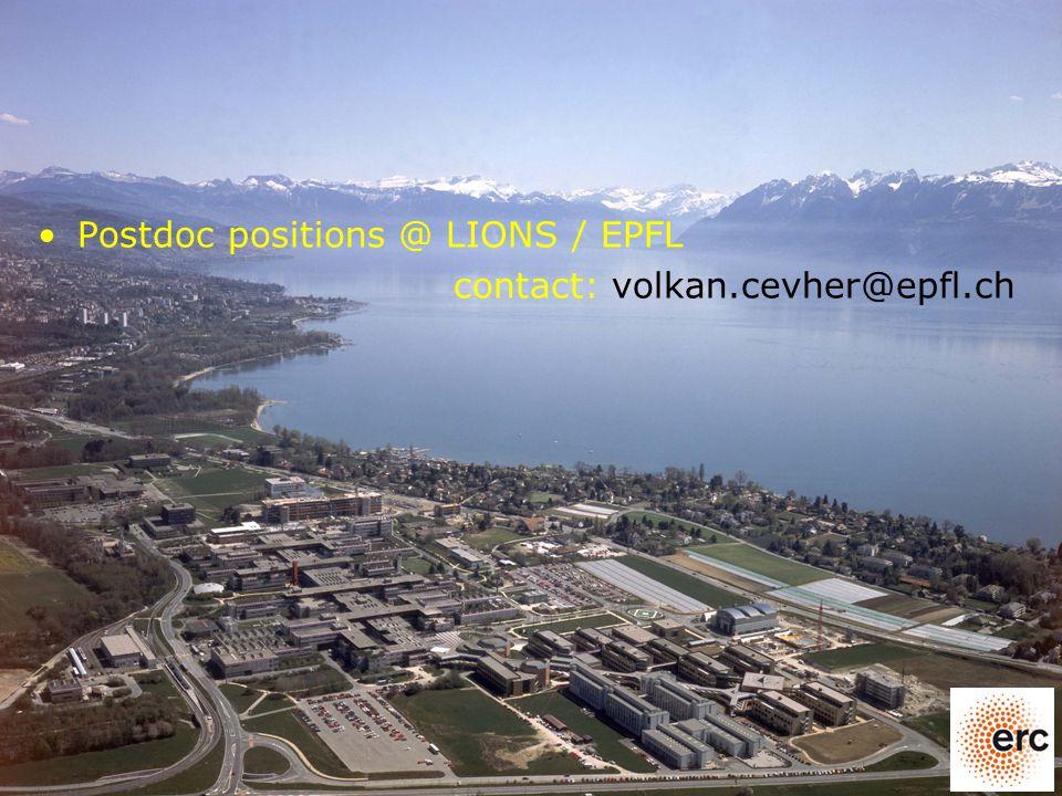 Postdoc positions @ LIONS / EPFL contact: volkan.cevher@epfl.ch