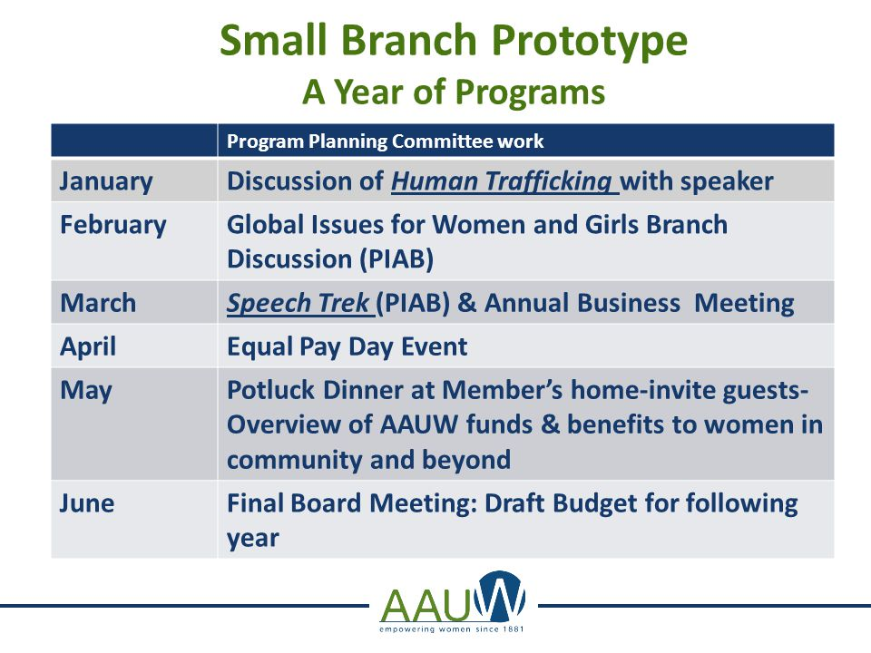 Small Branch Prototype A Year of Programs Program Planning Committee work JanuaryDiscussion of Human Trafficking with speaker FebruaryGlobal Issues fo