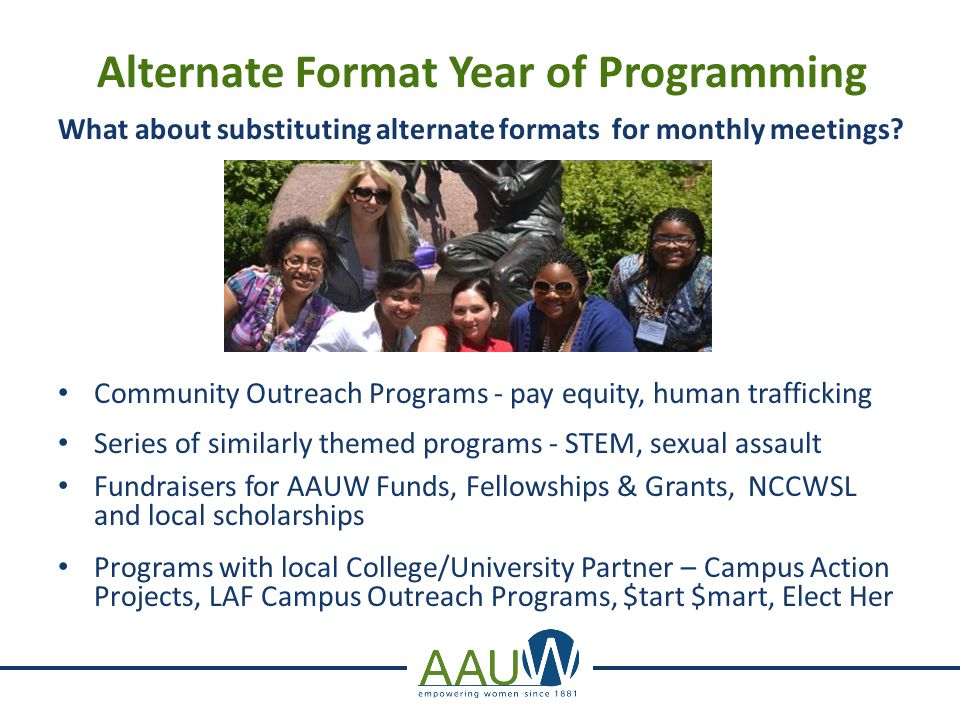 Alternate Format Year of Programming What about substituting alternate formats for monthly meetings? Community Outreach Programs - pay equity, human t