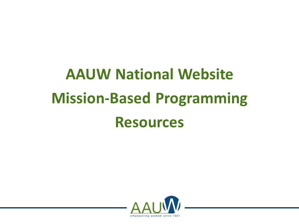 AAUW National Website Mission-Based Programming Resources