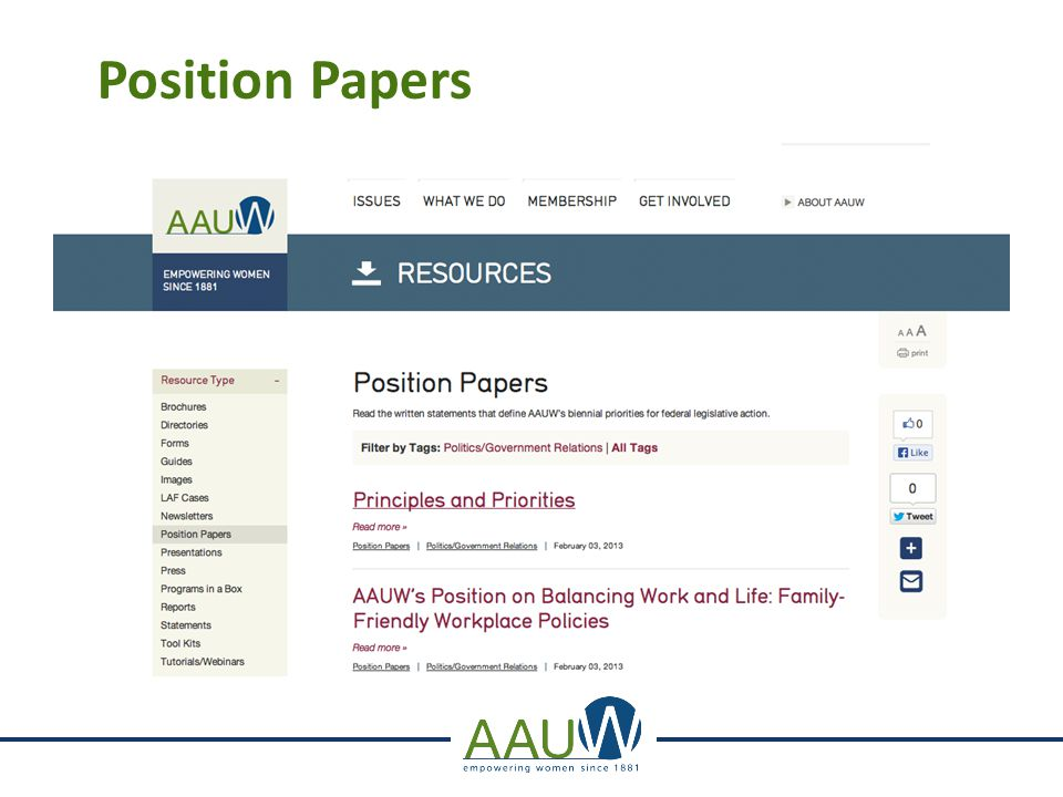 Position Papers AAUW_Position Papers