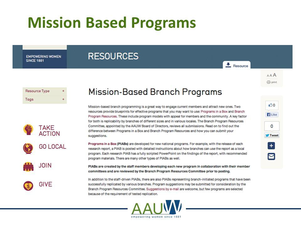 Mission Based Programs