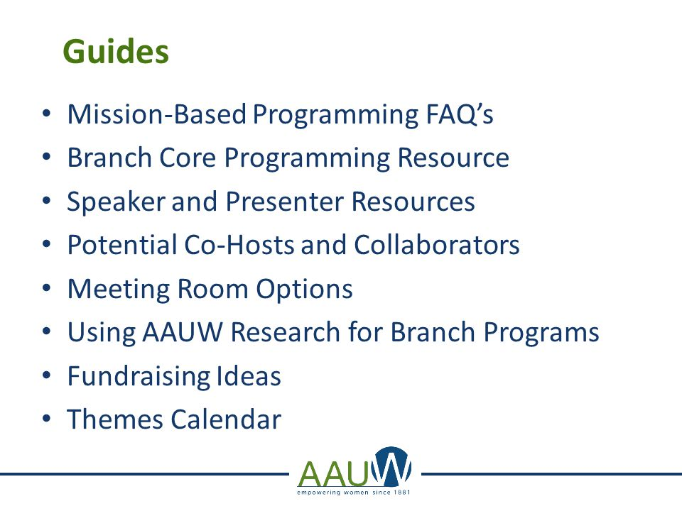 Guides Mission-Based Programming FAQ's Branch Core Programming Resource Speaker and Presenter Resources Potential Co-Hosts and Collaborators Meeting R
