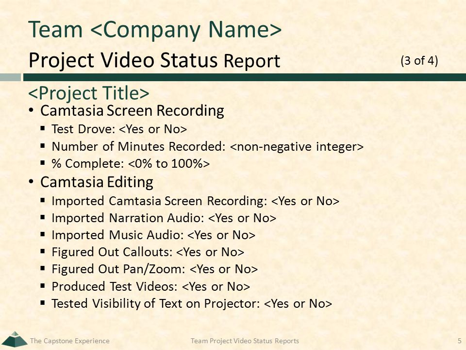 Project Video Status Report Team Camtasia Screen Recording  Test Drove:  Number of Minutes Recorded:  % Complete: Camtasia Editing  Imported Camta