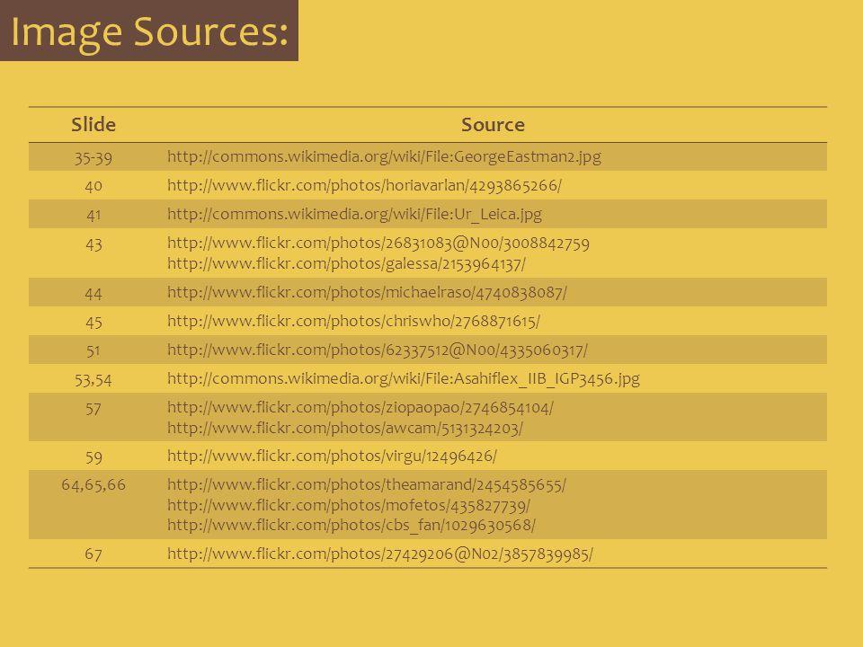 Image Sources: SlideSource 35-39http://commons.wikimedia.org/wiki/File:GeorgeEastman2.jpg 40http://www.flickr.com/photos/horiavarlan/4293865266/ 41htt
