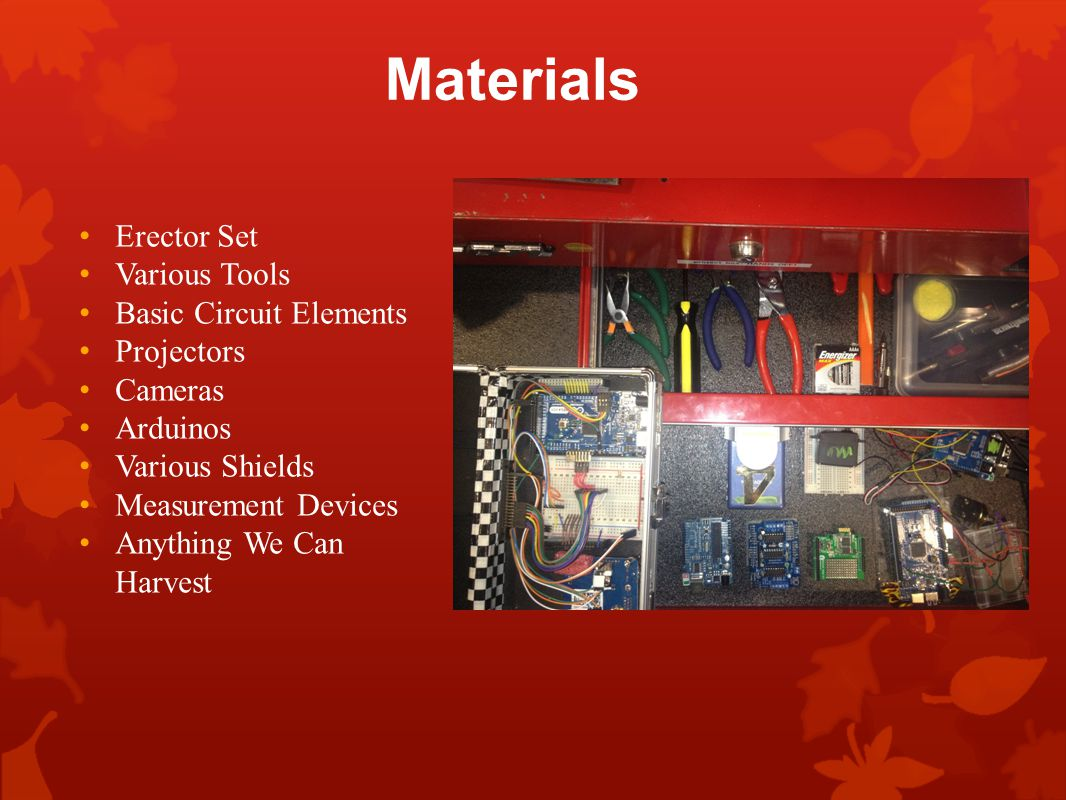Materials Erector Set Various Tools Basic Circuit Elements Projectors Cameras Arduinos Various Shields Measurement Devices Anything We Can Harvest