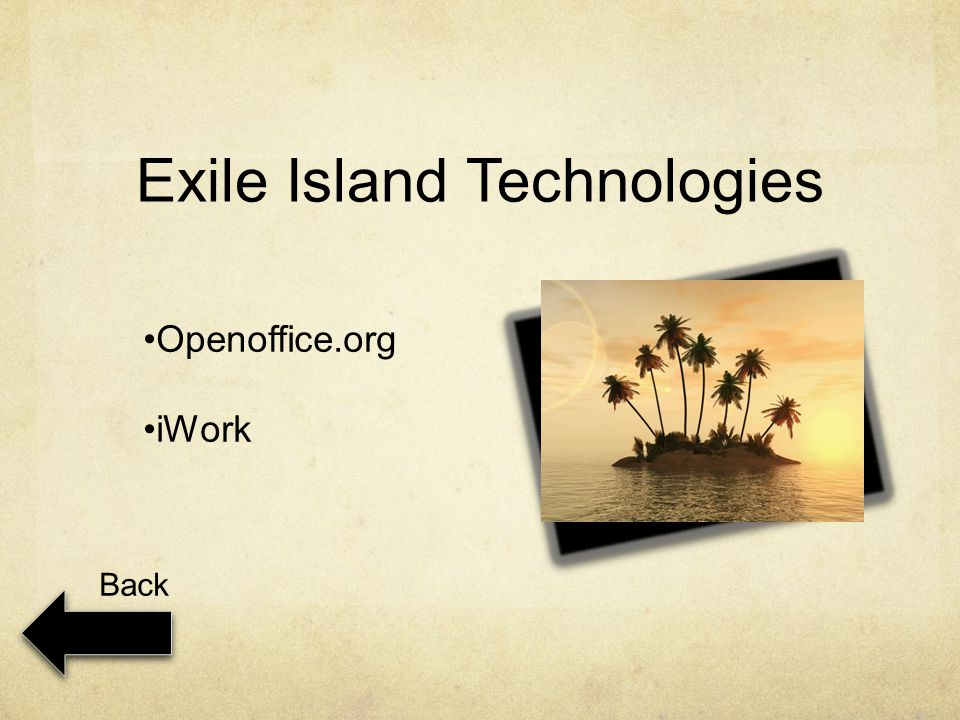 Exile Island Technologies Openoffice.org iWork Back