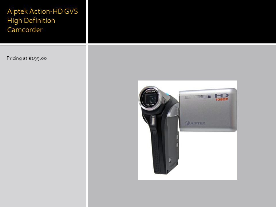 Aiptek Action-HD GVS High Definition Camcorder Pricing at $199.00