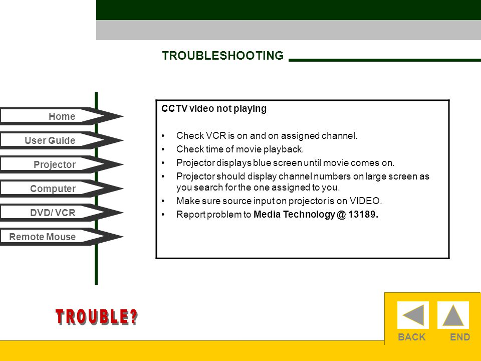 BACKEND TROUBLESHOOTING Home User Guide Computer Projector DVD/ VCR Remote Mouse CCTV video not playing Check VCR is on and on assigned channel.