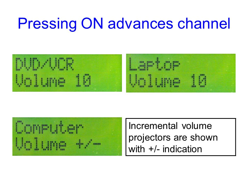 Pressing ON advances channel Incremental volume projectors are shown with +/- indication