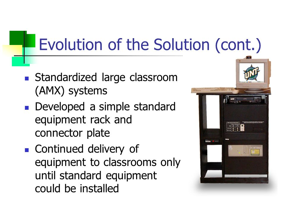 Evolution of the Solution (cont.) Standardized large classroom (AMX) systems Developed a simple standard equipment rack and connector plate Continued delivery of equipment to classrooms only until standard equipment could be installed