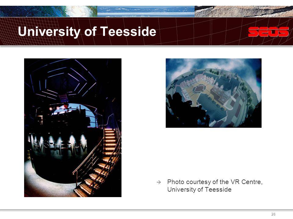 26 University of Teesside  Photo courtesy of the VR Centre, University of Teesside