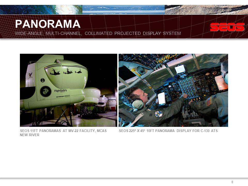 6 SEOS 11FT PANORAMAS AT MV-22 FACILITY, MCAS NEW RIVER SEOS 225º X 45º 10FT PANORAMA DISPLAY FOR C-130 ATS