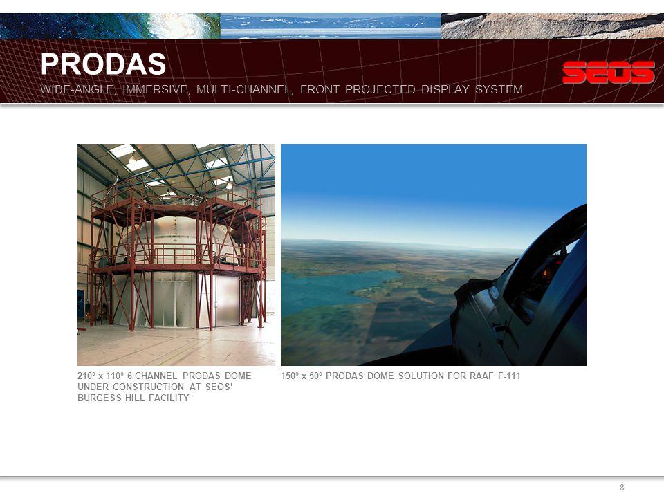 8 210º x 110º 6 CHANNEL PRODAS DOME UNDER CONSTRUCTION AT SEOS' BURGESS HILL FACILITY 150º x 50º PRODAS DOME SOLUTION FOR RAAF F-111