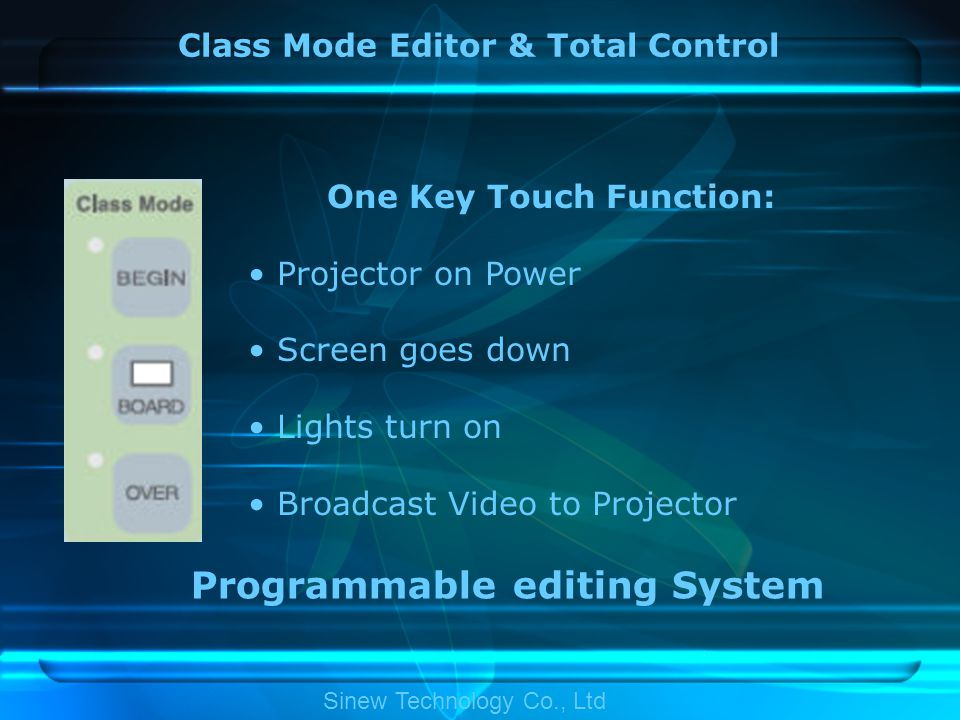 Class Mode Editor & Total Control One Key Touch Function: Projector on Power Screen goes down Lights turn on Broadcast Video to Projector Programmable editing System Sinew Technology Co., Ltd
