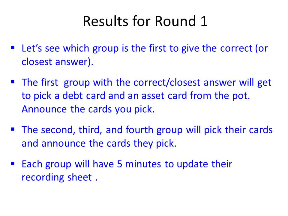  Let's see which group is the first to give the correct (or closest answer).