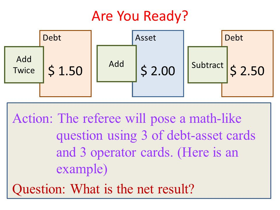 Action: The referee will pose a math-like question using 3 of debt-asset cards and 3 operator cards. (Here is an example) Question: What is the net re