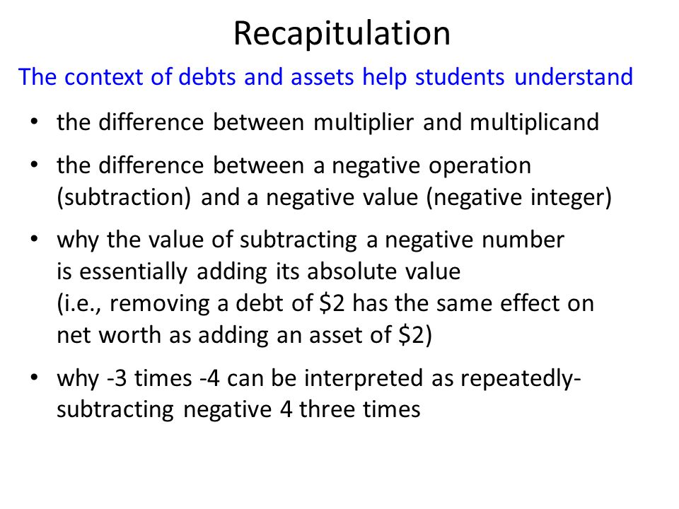 The context of debts and assets help students understand Recapitulation the difference between multiplier and multiplicand the difference between a ne