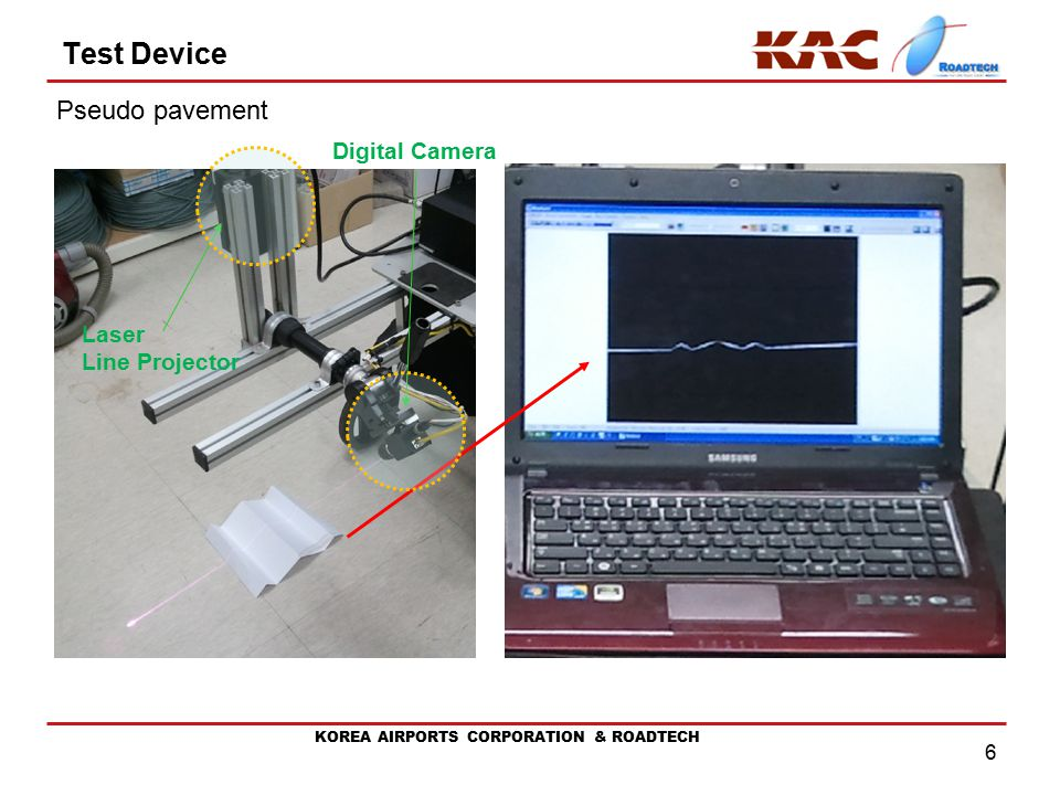 KOREA AIRPORTS CORPORATION & ROADTECH 6 Test Device Pseudo pavement Laser Line Projector Digital Camera