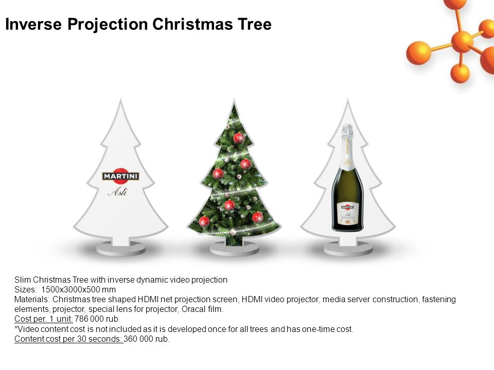 Inverse Projection Christmas Tree Slim Christmas Tree with inverse dynamic video projection Sizes: 1500x3000x500 mm Materials: Christmas tree shaped H
