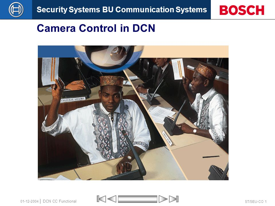 Security Systems BU Communication Systems ST/SEU-CO 32 DCN CC Functional 01-12-2004 Capture an overview image  Why No camera movement Image of the participants Surveillance  Solutions: Fixed camera When using 1 Dome camera only, use the last Pre-Position for Overview