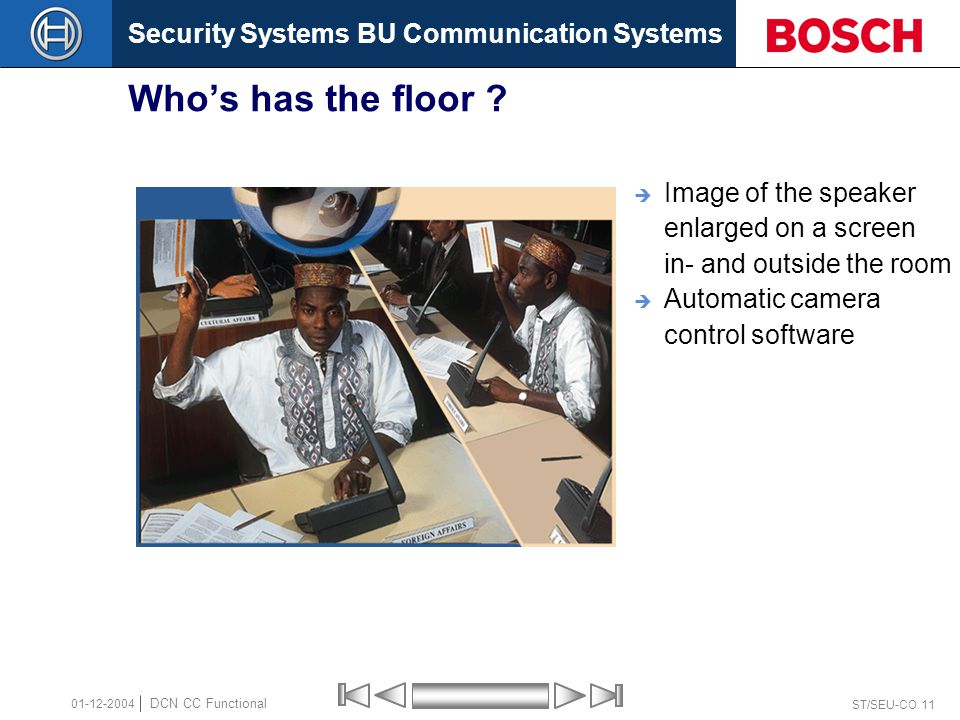Security Systems BU Communication Systems ST/SEU-CO 11 DCN CC Functional 01-12-2004 Who's has the floor ?  Image of the speaker enlarged on a screen