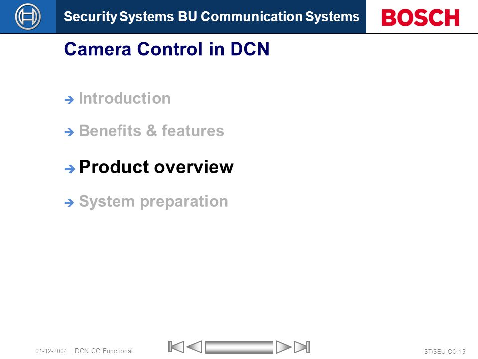 Security Systems BU Communication Systems ST/SEU-CO 13 DCN CC Functional 01-12-2004 Camera Control in DCN  Introduction  Benefits & features  Product overview  System preparation