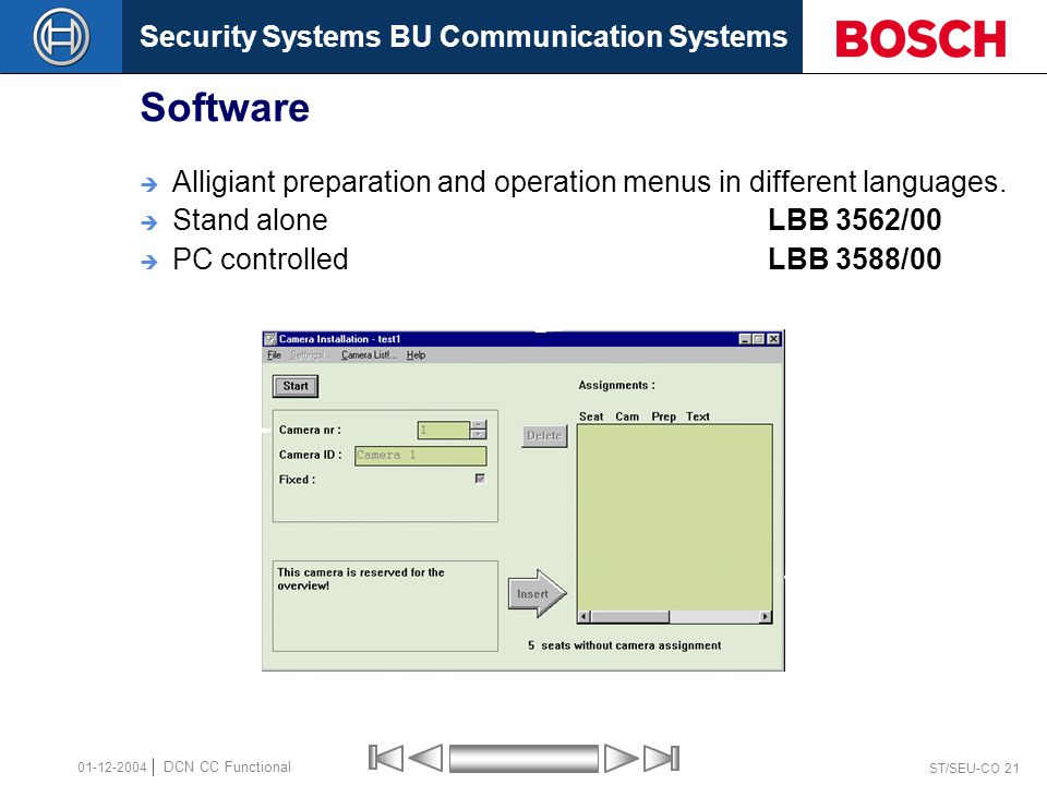Security Systems BU Communication Systems ST/SEU-CO 21 DCN CC Functional 01-12-2004 Software  Alligiant preparation and operation menus in different languages.