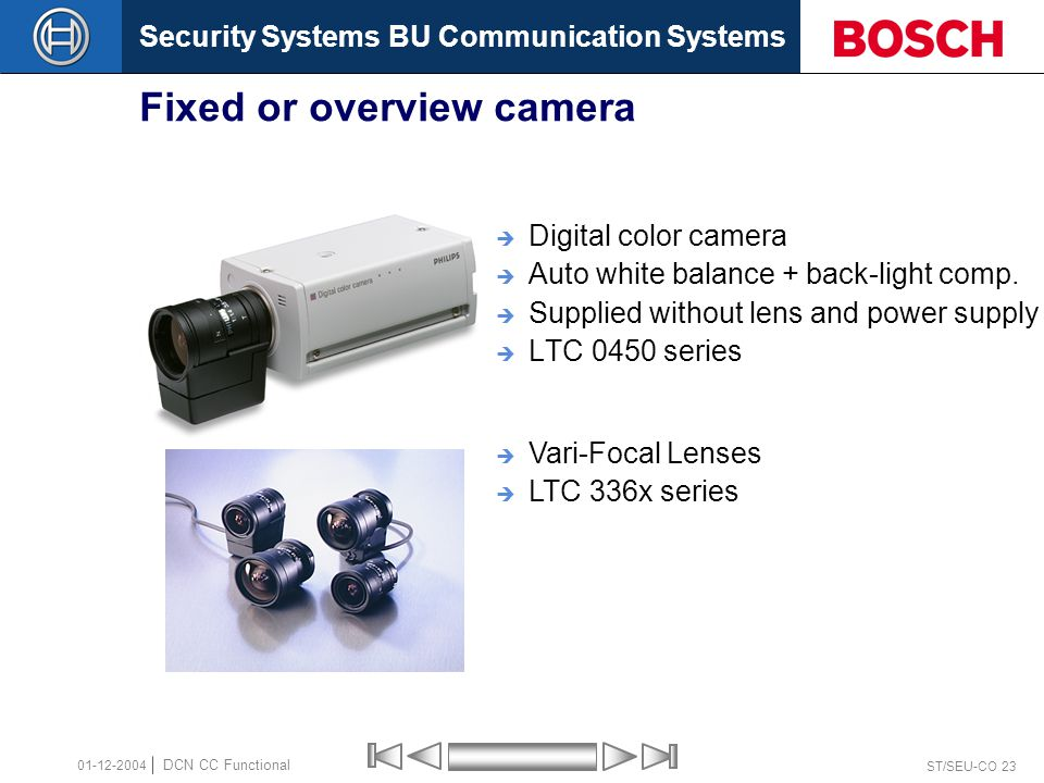 Security Systems BU Communication Systems ST/SEU-CO 23 DCN CC Functional 01-12-2004 Fixed or overview camera  Digital color camera  Auto white balance + back-light comp.