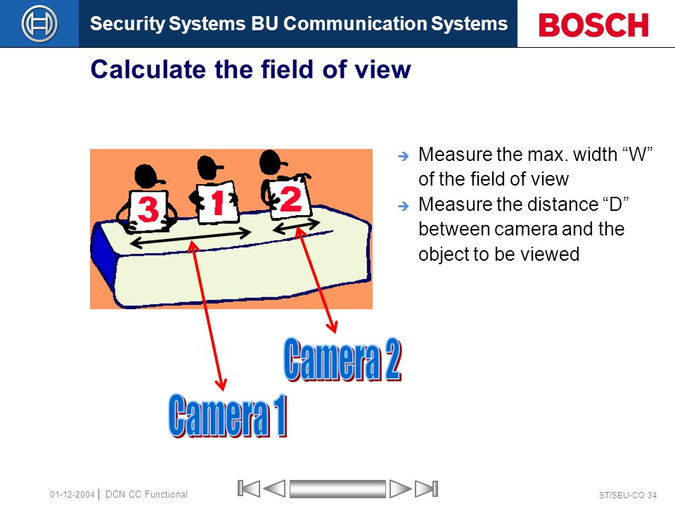 Security Systems BU Communication Systems ST/SEU-CO 34 DCN CC Functional 01-12-2004 Calculate the field of view  Measure the max.