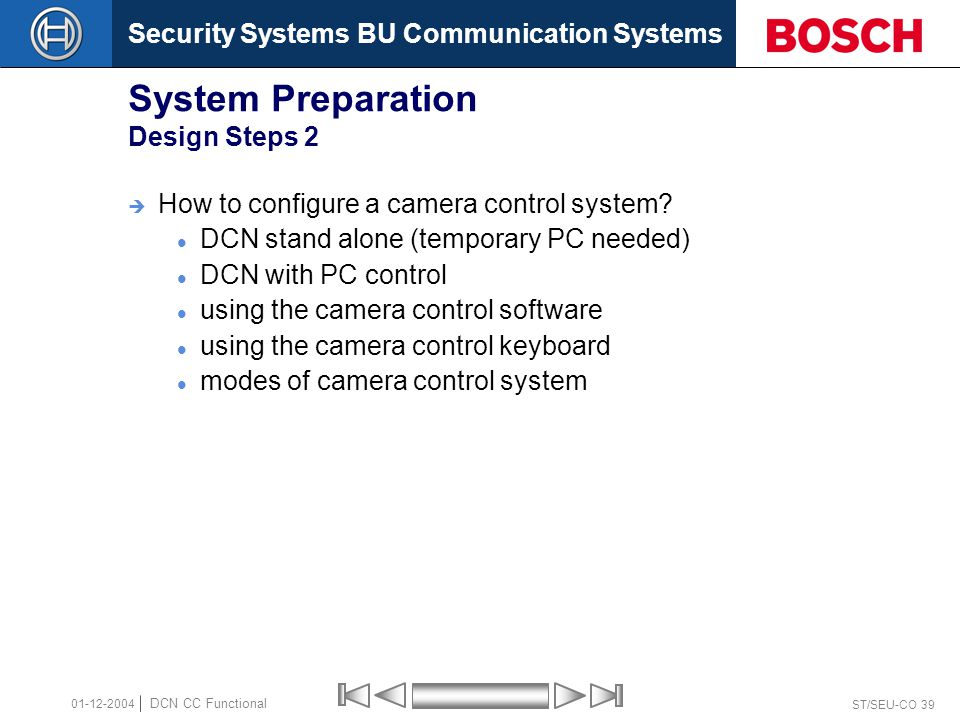 Security Systems BU Communication Systems ST/SEU-CO 39 DCN CC Functional 01-12-2004 System Preparation Design Steps 2  How to configure a camera control system.