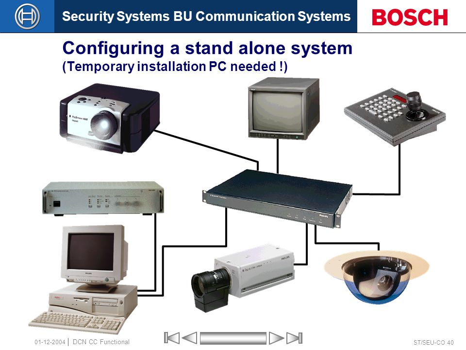 Security Systems BU Communication Systems ST/SEU-CO 40 DCN CC Functional 01-12-2004 Configuring a stand alone system (Temporary installation PC needed !)