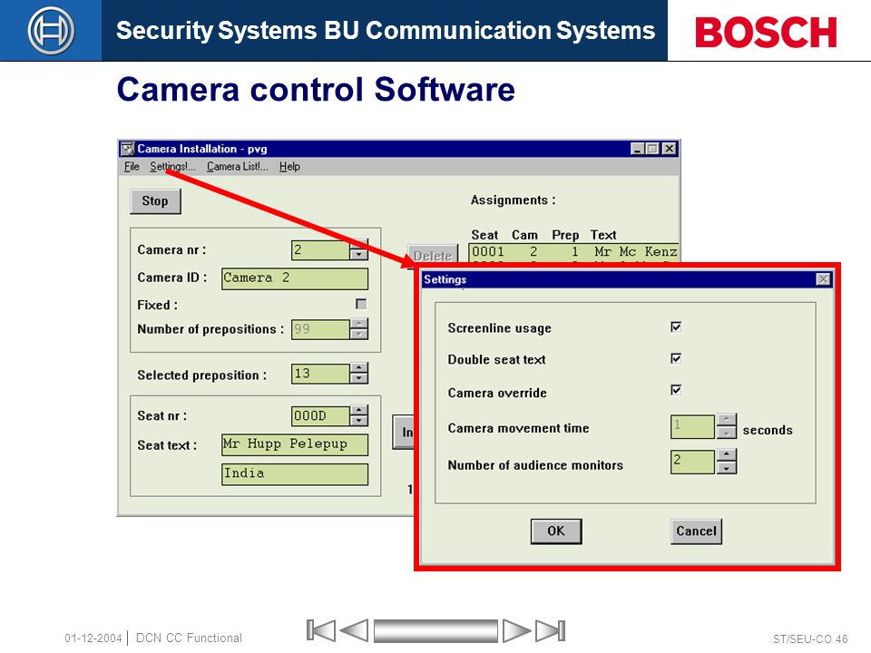 Security Systems BU Communication Systems ST/SEU-CO 46 DCN CC Functional 01-12-2004 Camera control Software