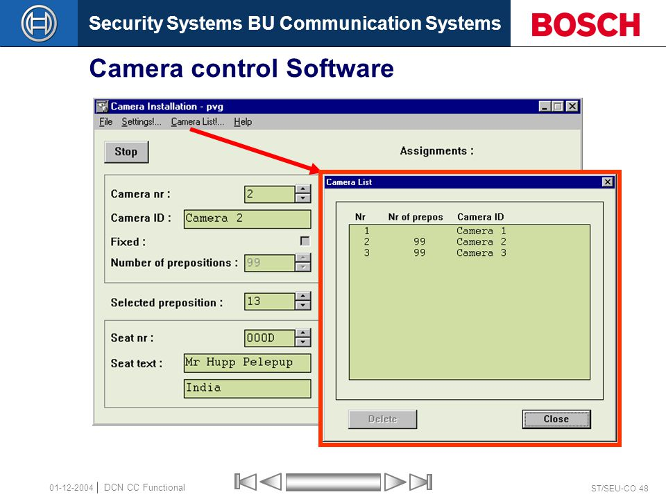 Security Systems BU Communication Systems ST/SEU-CO 48 DCN CC Functional 01-12-2004 Camera control Software