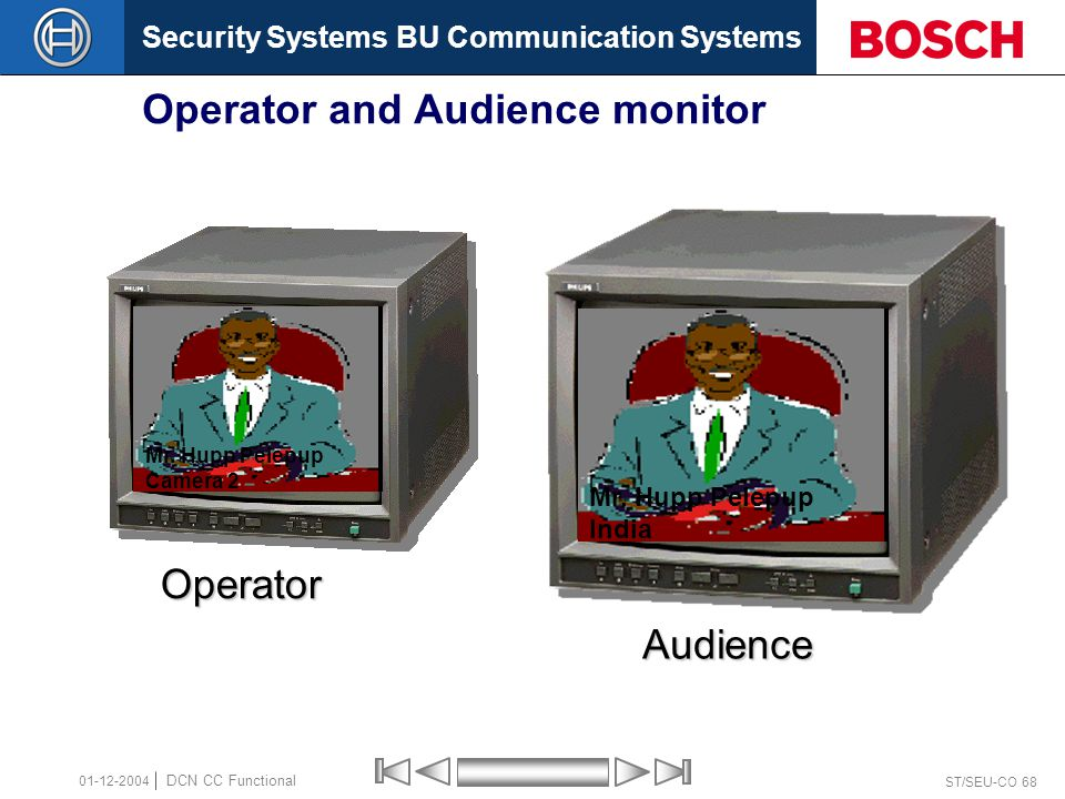 Security Systems BU Communication Systems ST/SEU-CO 68 DCN CC Functional 01-12-2004 Operator and Audience monitor Audience Mr. Hupp Pelepup India Oper