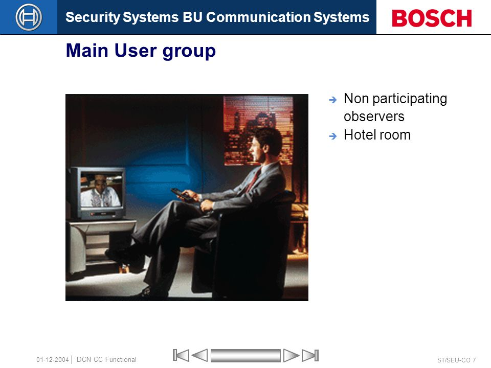 Security Systems BU Communication Systems ST/SEU-CO 7 DCN CC Functional 01-12-2004 Main User group  Non participating observers  Hotel room
