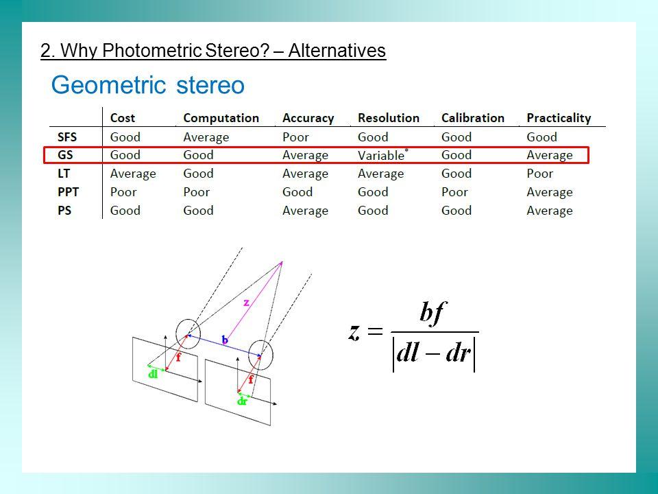 2. Why Photometric Stereo – Alternatives Geometric stereo