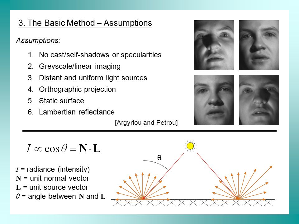 3. The Basic Method – Assumptions θ I = radiance (intensity) N = unit normal vector L = unit source vector θ = angle between N and L 1.No cast/self-sh