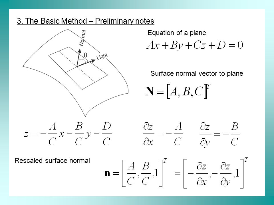 3. The Basic Method – Preliminary notes Equation of a plane Surface normal vector to plane Rescaled surface normal