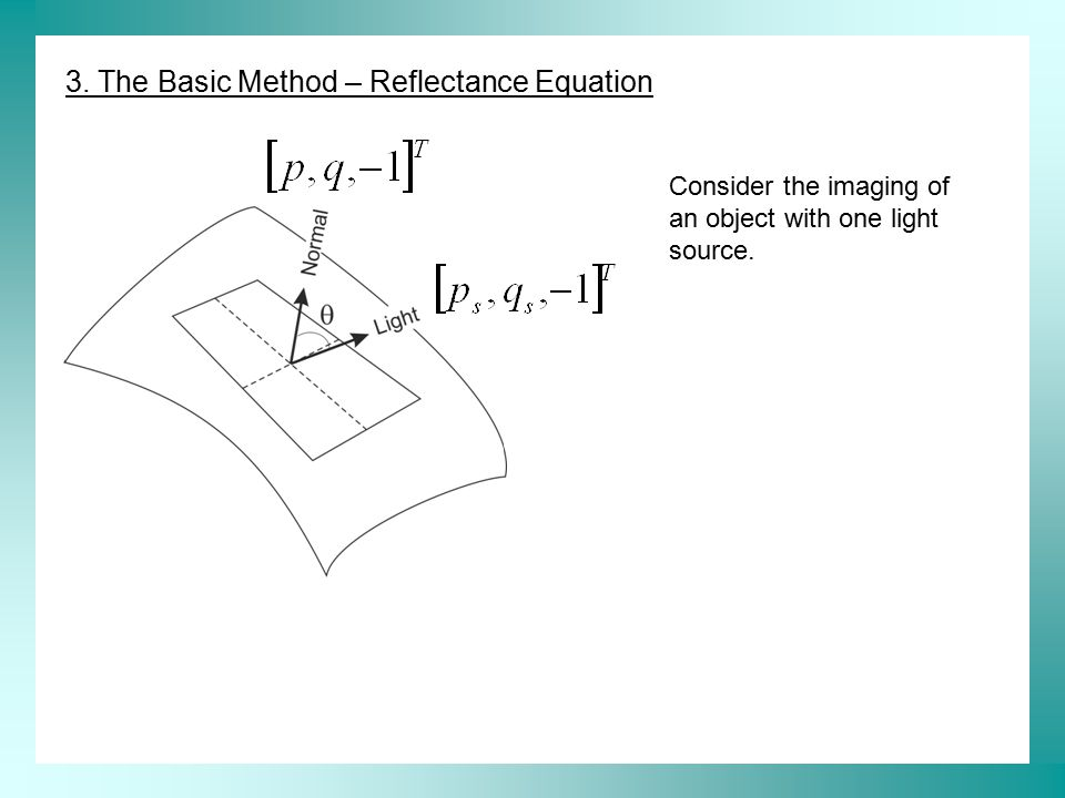3. The Basic Method – Reflectance Equation Consider the imaging of an object with one light source.