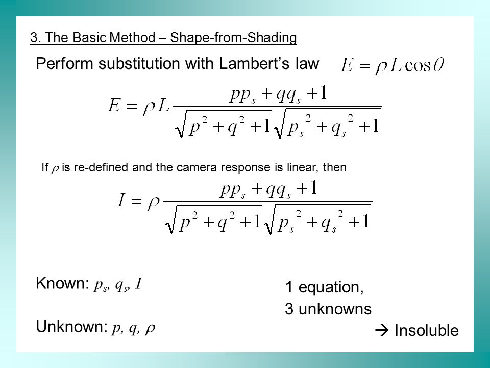 Perform substitution with Lambert's law Known: p s, q s, I Unknown: p, q,  1 equation, 3 unknowns  Insoluble 3. The Basic Method – Shape-from-Shadin